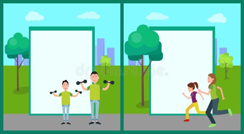 Ejemplo del vector de las banderas del color de la actividad al aire libre stock de ilustración