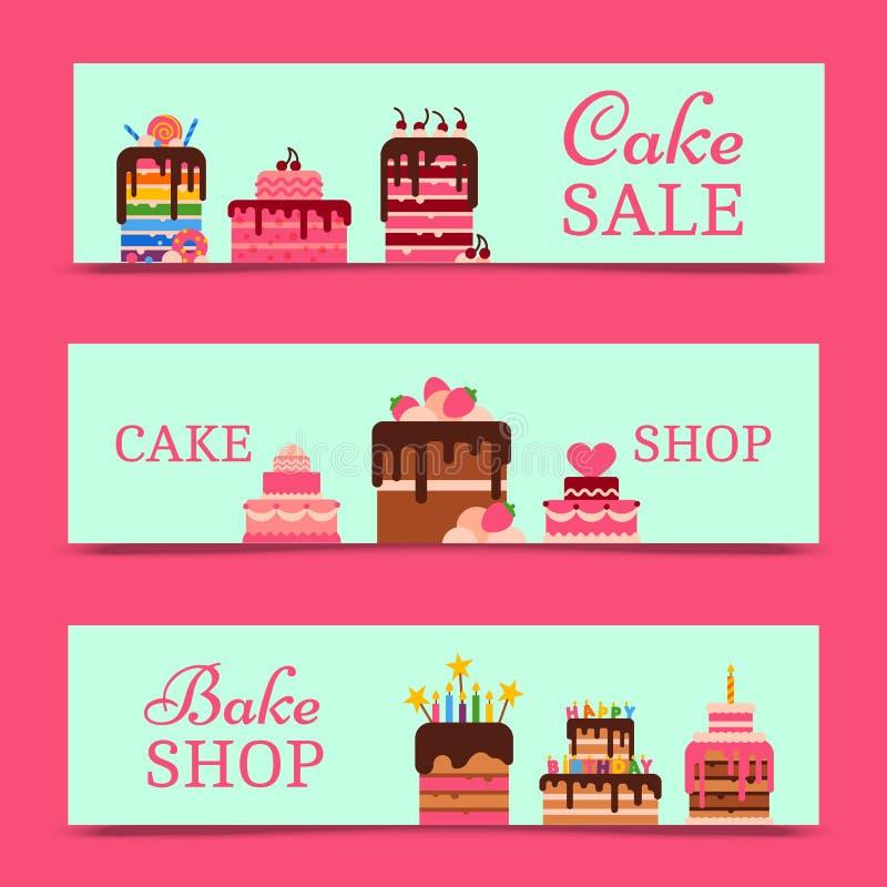 Ejemplo del vector de las banderas de la torta Chocolate y postres con sabor a fruta para el diseño de la tienda de la pasteles y ilustración del vector