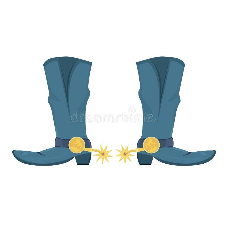 Ejemplo del vector de las botas de vaquero con rastro libre illustration