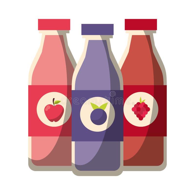 Ejemplo del vector de las botellas de los zumos de frutas ilustración del vector