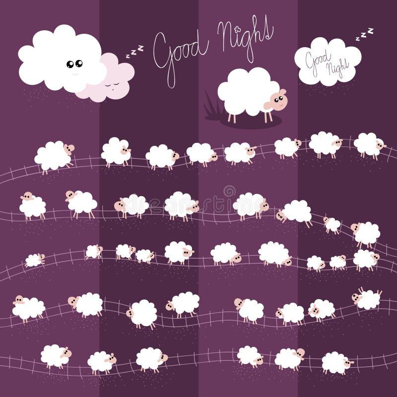 Ejemplo del vector de las buenas noches para los niños con Indiv foto de archivo libre de regalías