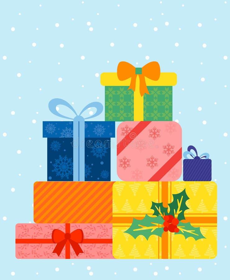 Ejemplo del vector de las cajas de regalo envueltas coloridas Actual caja hermosa en fondo azul con nieve Regalo de la Navidad stock de ilustración