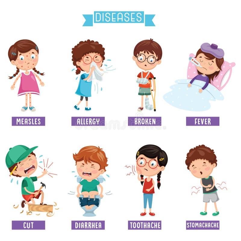 Ejemplo del vector de las enfermedades del niño ilustración del vector
