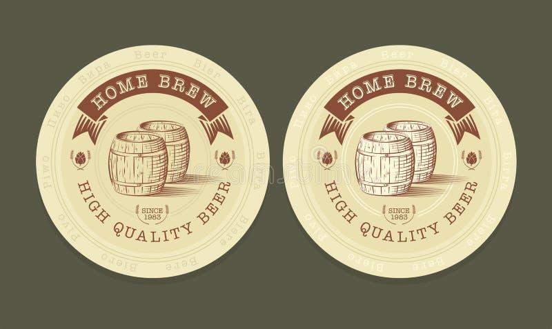 Ejemplo del vector de las etiquetas de la cerveza stock de ilustración