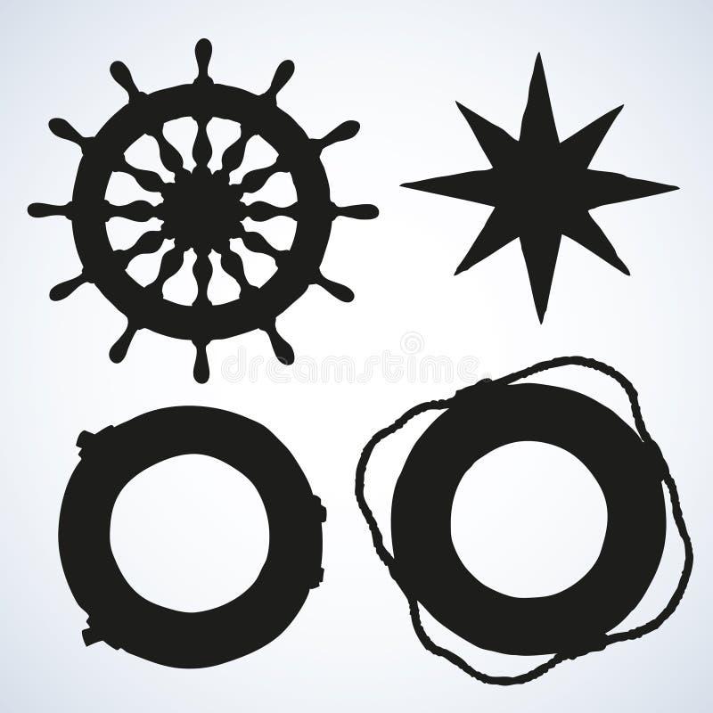 Ejemplo del vector de las fuentes de la nave del mar ilustración del vector