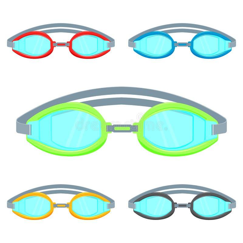 Ejemplo del vector de las gafas de la piscina aislado en el sistema blanco del fondo stock de ilustración