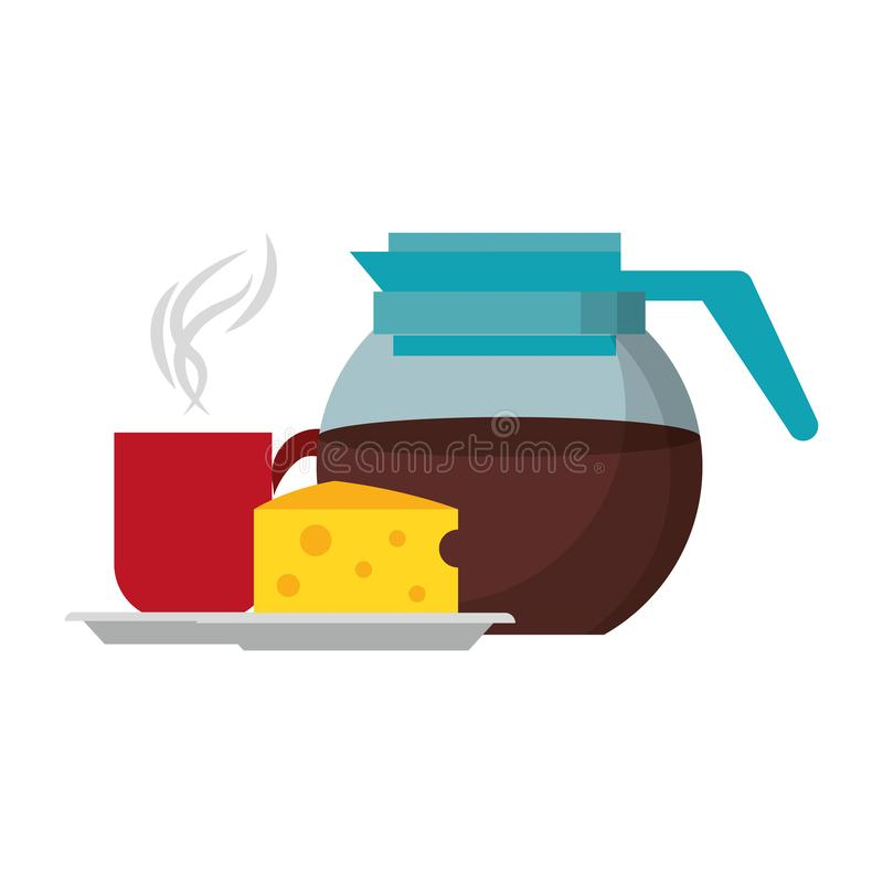 Ejemplo del vector de las historietas de la comida de la mañana del desayuno libre illustration