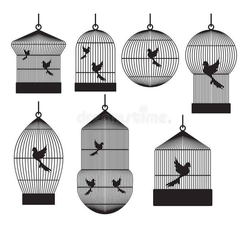Jaulas de pájaros ilustración del vector