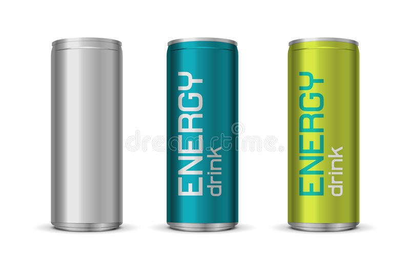 Ejemplo del vector de las latas de la bebida de la energía ilustración del vector