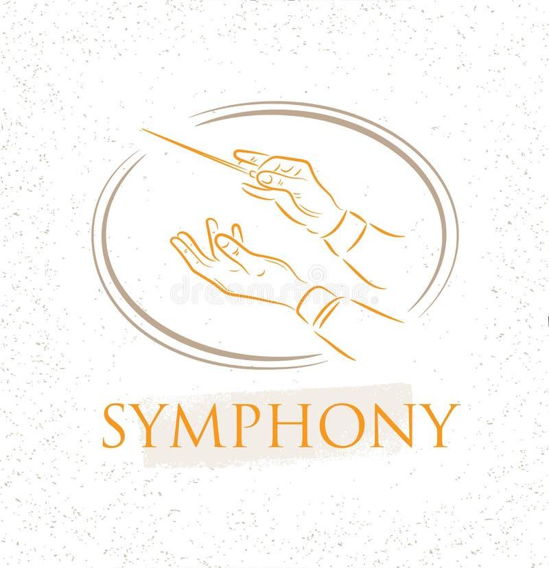 Ejemplo del vector de las manos de la orquesta del conductor plano Concepto colorido del conductor del estribillo para su diseño libre illustration