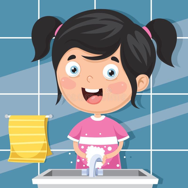 Ejemplo del vector de las manos que se lavan del niño ilustración del vector