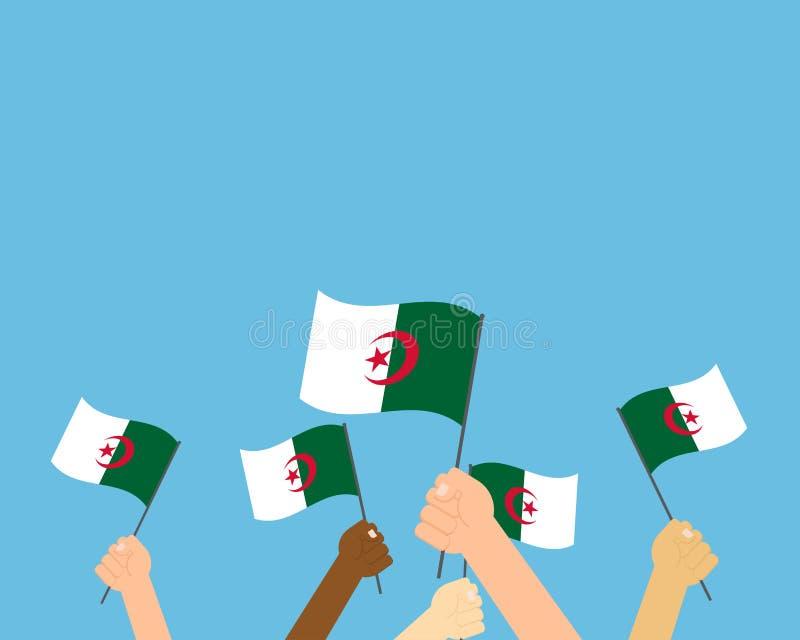 Ejemplo del vector de las manos que sostienen las banderas de Argelia stock de ilustración