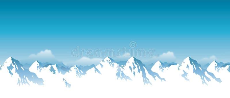 Ejemplo del vector de las montañas coronadas de nieve de Himalaya stock de ilustración