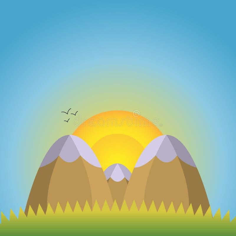 Ejemplo del vector de las montañas naturales de un paisaje dos con los casquillos de la nieve en el primero plano y una montaña d libre illustration
