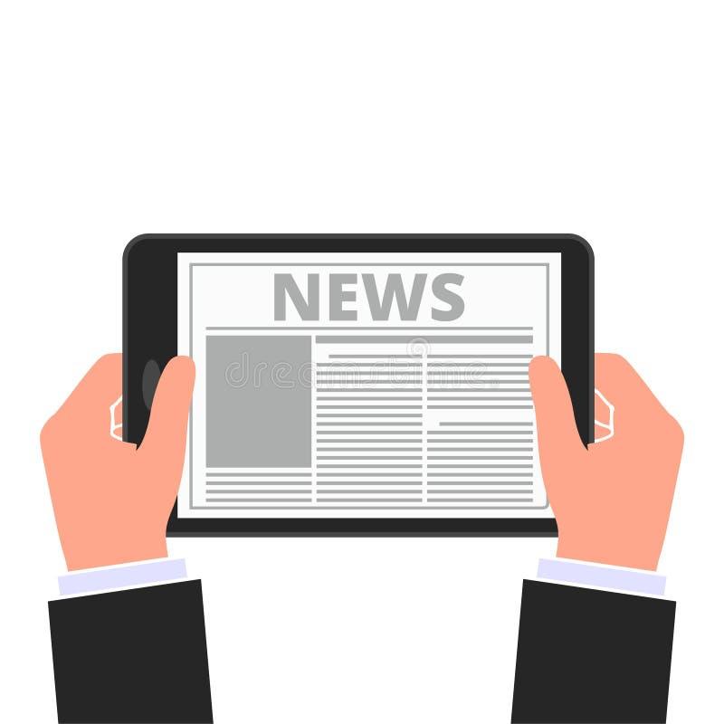 Ejemplo del vector de las noticias de la tableta de las manos stock de ilustración