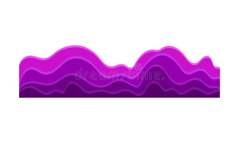 Ejemplo del vector de las ondas púrpuras brillantes de la música en la forma de colinas Equalizador audio Vibraciones sanas ilustración del vector