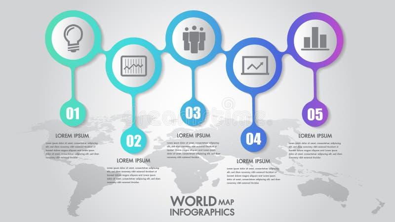 Ejemplo del vector de las opciones del paso del infographics 5 del negocio del mapa del mundo y plantilla del diseño con las marc stock de ilustración