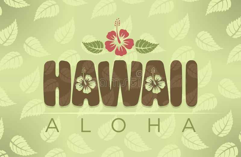 Ejemplo del vector de las palabras de Hawaii y de la hawaiana stock de ilustración