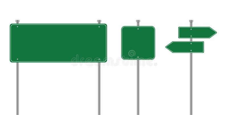 Ejemplo del vector de las señales de tráfico Plantillas de las señales de tráfico de la placa del verde del vector para la direcc ilustración del vector