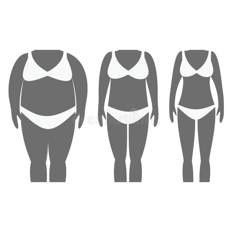 Ejemplo del vector de las siluetas de la mujer con la piel oscura libre illustration
