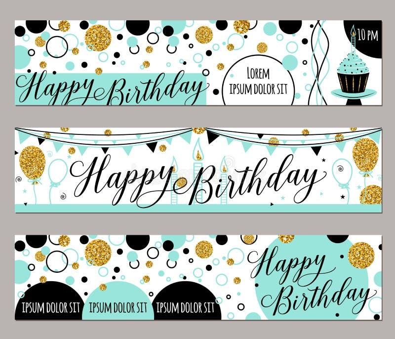 Ejemplo del vector de las tarjetas del feliz cumpleaños Forme el fondo con la magdalena, globo, chispas del oro Elementos de oro ilustración del vector