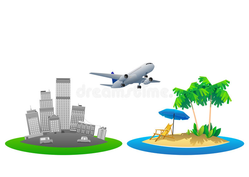 Ejemplo del vector de las vacaciones de verano, playa plana del diseño y concepto del parasol stock de ilustración