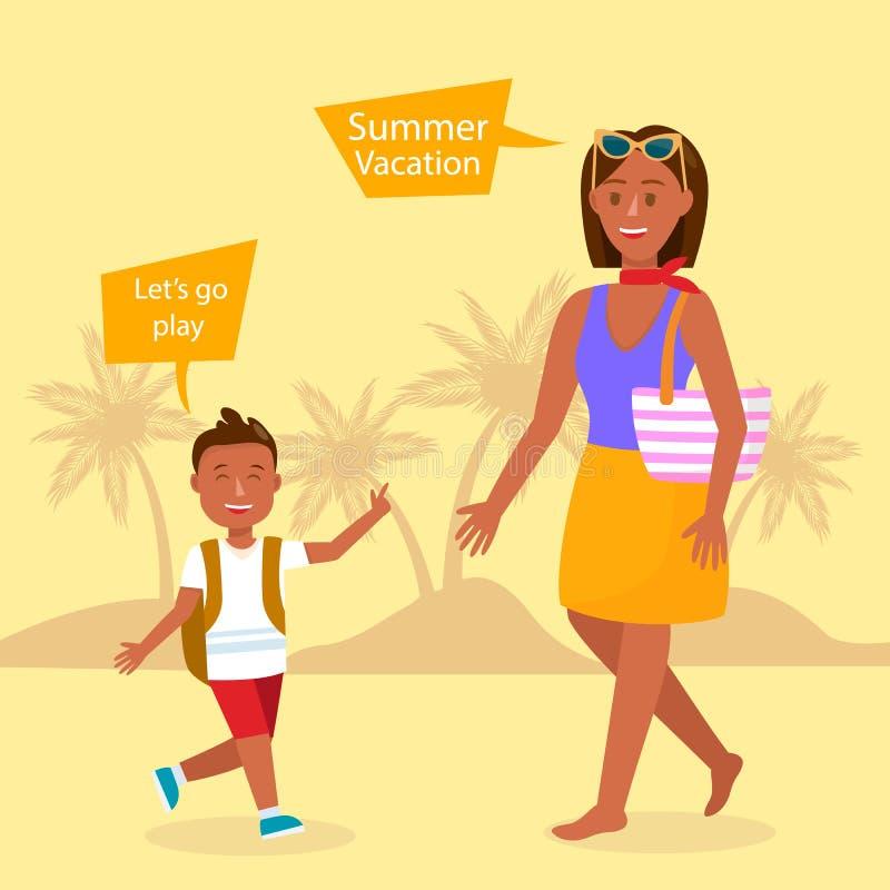 Ejemplo del vector de las vacaciones de verano con Copyspace ilustración del vector