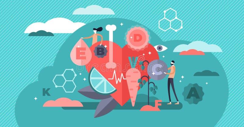 Ejemplo del vector de las vitaminas Concepto sano minúsculo plano de las personas de la forma de vida stock de ilustración