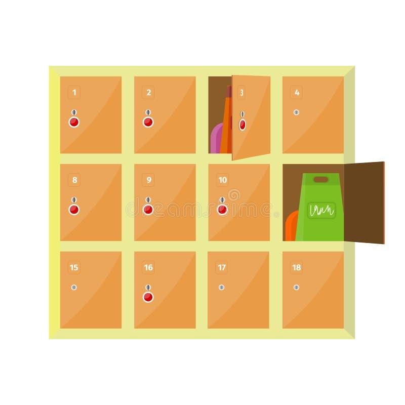 Ejemplo del vector de los armarios en diseño plano del estilo stock de ilustración