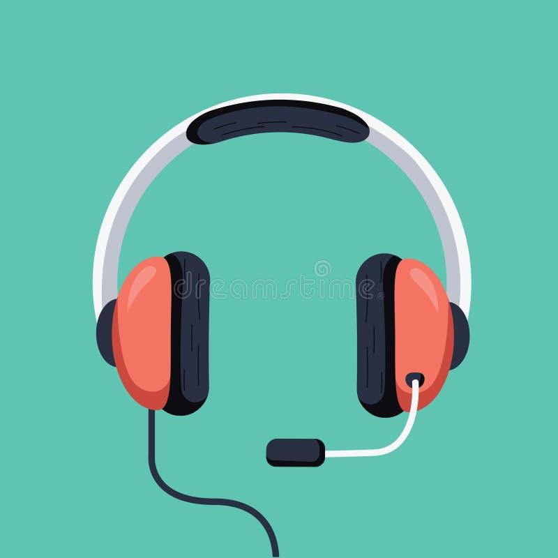 Ejemplo del vector de los auriculares, auriculares planas de la historieta con el mic aislado Icono del operador de la atención a stock de ilustración