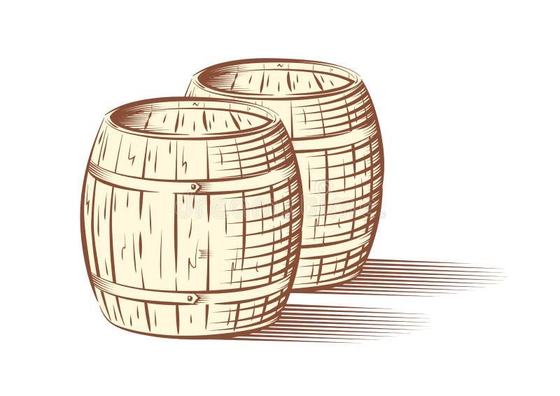 Ejemplo del vector de los barriles de la cerveza o de vino ilustración del vector