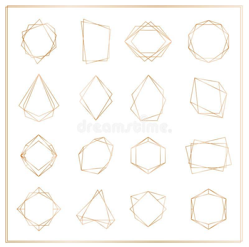 Ejemplo del vector de los bastidores de los segmentos del oro fijados aislados en el fondo blanco Línea fina marcos del poliedro  stock de ilustración