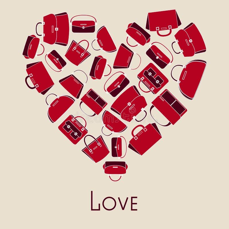 Ejemplo del vector de los bolsos en corazón stock de ilustración