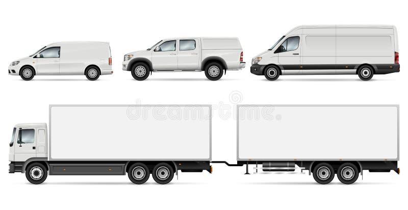 Ejemplo del vector de los camiones y de las furgonetas stock de ilustración