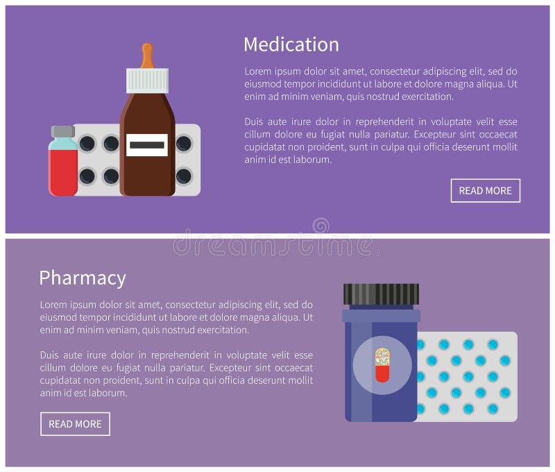 Ejemplo del vector de los carteles de las medicinas de la medicación stock de ilustración