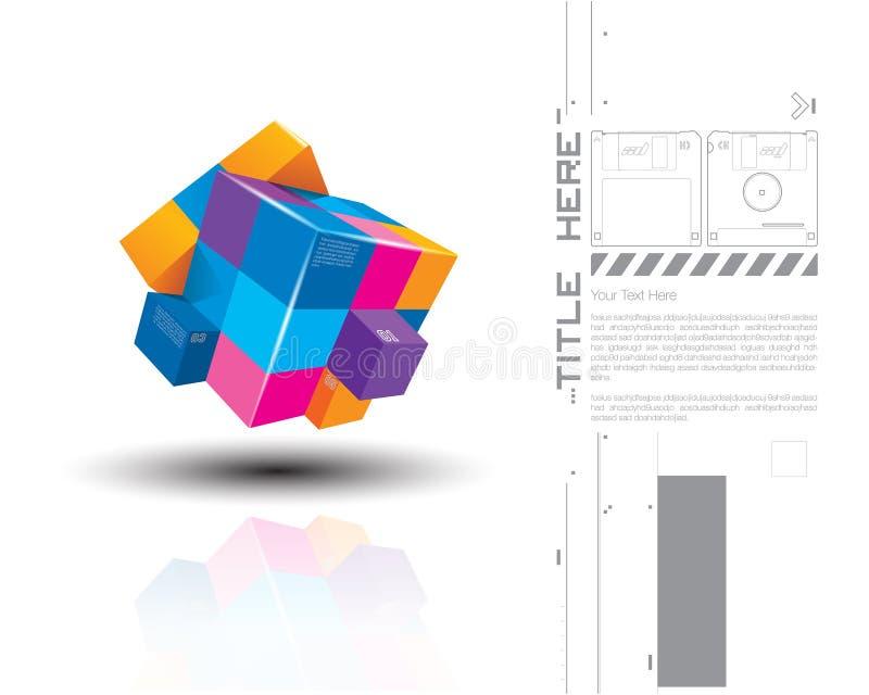 Ejemplo del vector de los cubos coloridos 3d ilustración del vector