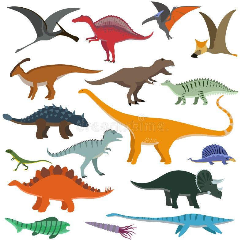 Ejemplo del vector de los dinosaurios de la historieta ilustración del vector