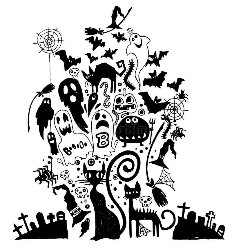 Ejemplo del vector de los garabatos a mano de Halloween Illu del vector libre illustration