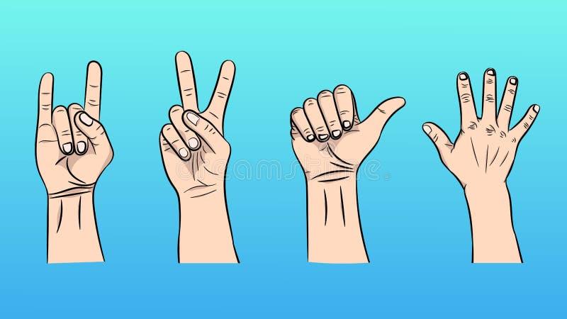 Ejemplo del vector de los gestos aislados por las manos libre illustration
