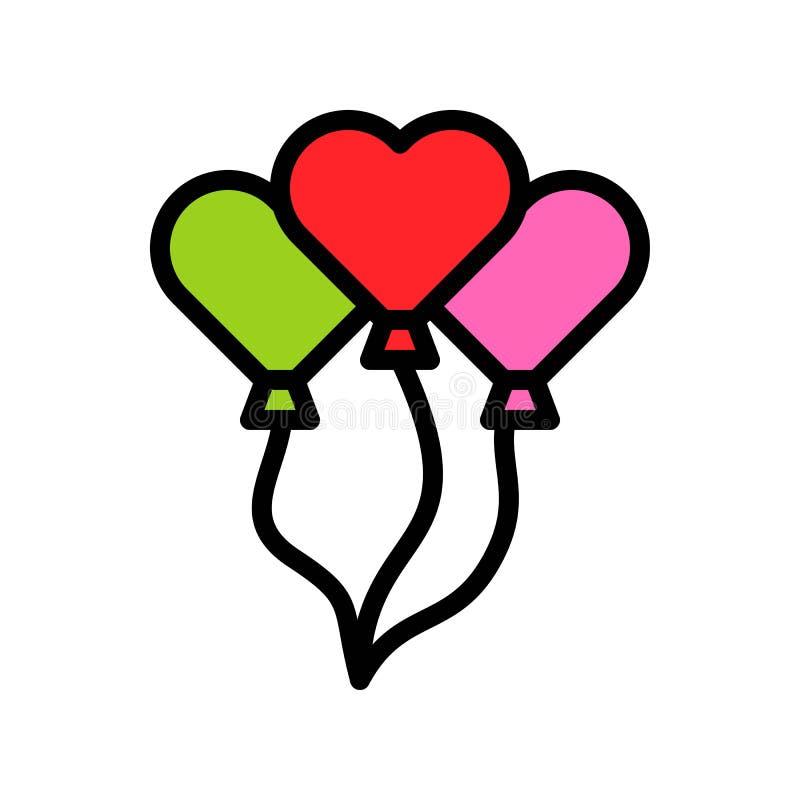 Ejemplo del vector de los globos del corazón, esquema editable llenado del icono del estilo libre illustration