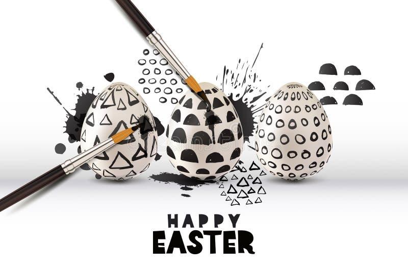 Ejemplo del vector de los huevos de la pintura con el cepillo Concepto del arte y del arte Tarjeta o cartel feliz de felicitación libre illustration