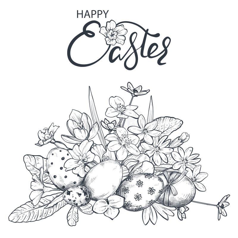 Ejemplo del vector de los huevos de Pascua de la mano y de las flores adornados exhaustos de la primavera ilustración del vector