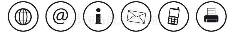 Ejemplo del vector de los iconos del contacto en el fondo blanco imagen de archivo
