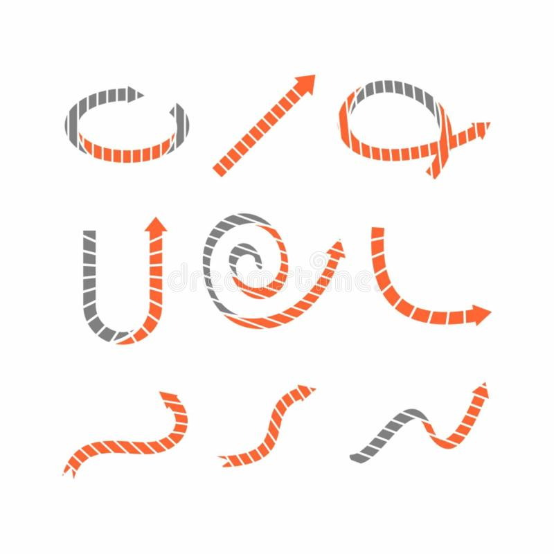 Ejemplo del vector de los iconos curvados de la flecha ilustración del vector