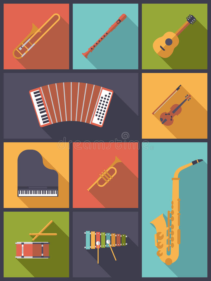 Ejemplo del vector de los iconos de los instrumentos musicales libre illustration