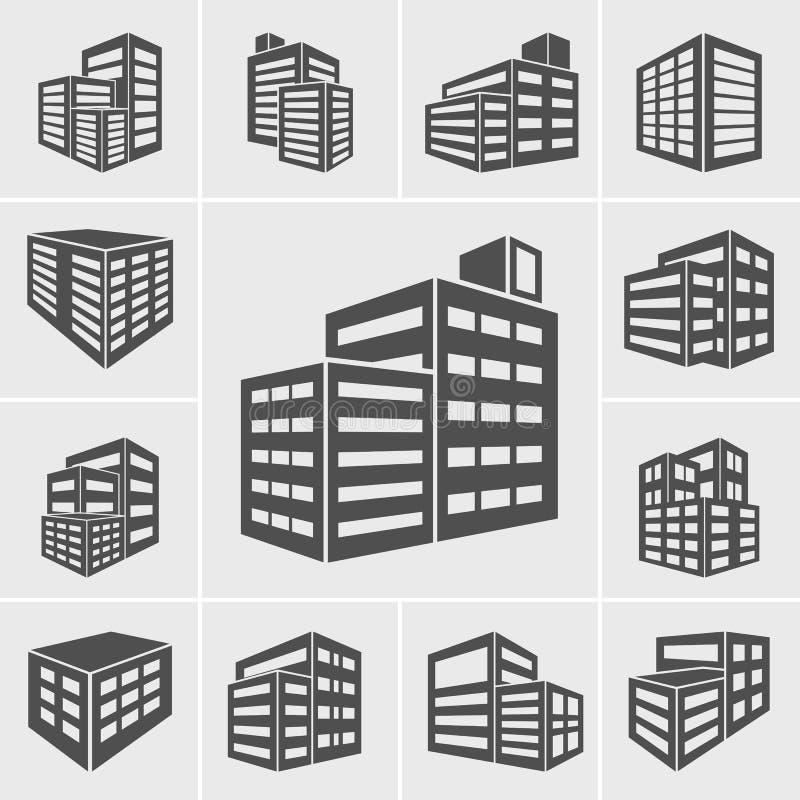 Ejemplo del vector de los iconos del edificio ilustración del vector