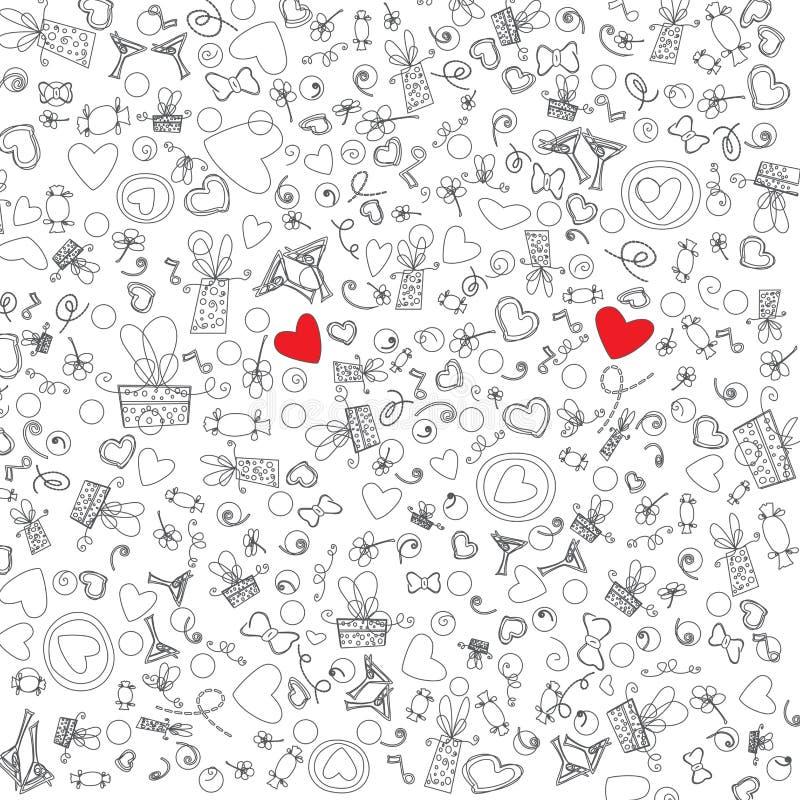 Ejemplo del vector de los iconos del garabato de Valentine Day del amor ilustración del vector