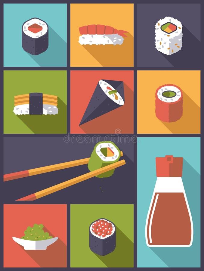 Ejemplo del vector de los iconos del sushi libre illustration