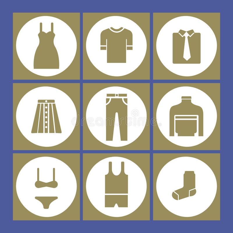 Ejemplo del vector de los iconos femeninos y masculinos de la ropa libre illustration