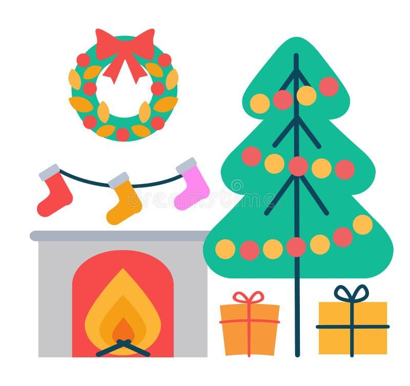 Ejemplo del vector de los iconos de la decoración de la Navidad ilustración del vector